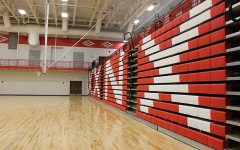 Alternate Text Not Supplied for Bleachers in the new gym.