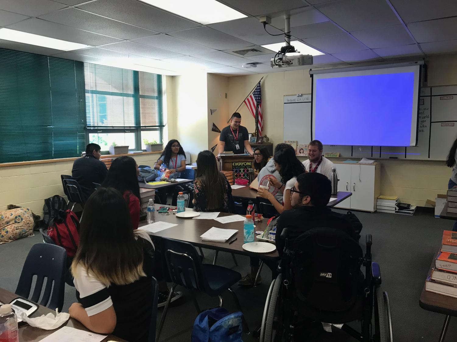 History Club president Jorge Ollarzabal welcomes members at their first meeting of the year.