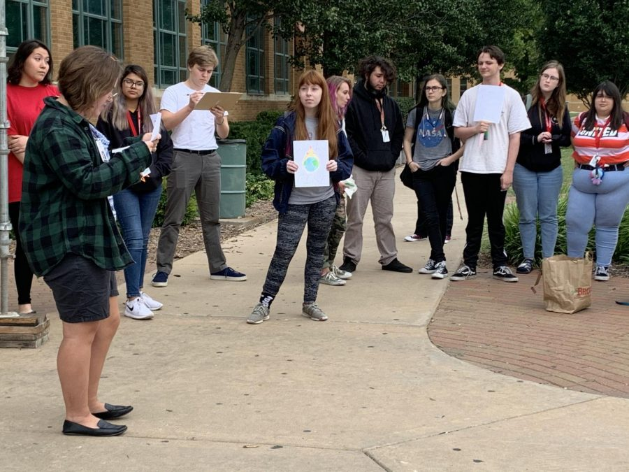 Students stage a walkout to raise awareness about climate change
